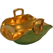 SALE Wonderful Candy Dish ~ Hand Painted with Green and Gold by Pickard Studios Chicago ...