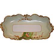 SALE Exquisite  Ice Cream / Sandwich Dish ~ Limoges Porcelain ~ Hand Painted with Flowers and