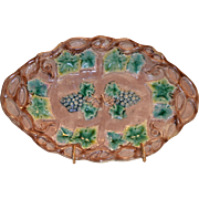 SALE Nice Etruscan Majolica Dish ~ Brown Background with Green Leaves and Bluish Purple Grapes