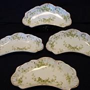 "SALE (4) Very Nice Semi-Porcelain Side Dishes –Green Flowers ""Windermere"" Pattern~ Alfre"