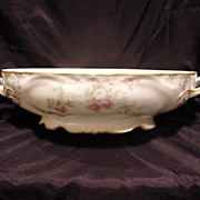 SALE Delicate Limoges 11'' Oval Serving Dish ~ Factory Decorated with Pink & White Roses ~ ...
