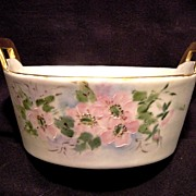 SALE Wonderful Limoges Porcelain Butter Tub / Dish ~ Hand Painted with Pink Wild Roses ~ ...