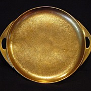 """SALE Awesome Pickard Studio Decorated Two Handled Tray 8 3/8"""" ~ ALL OVER GOLD!!!"""