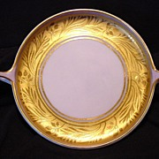 Exquisite Bavarian Two Handled Serving Dish ~ Gold Encrusted and Lilac ~ Artist Signed ~ Donat