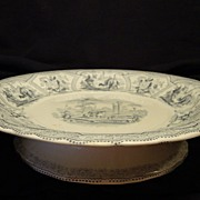 SALE Amazing English Earthenware Pedestal Blue and White Transferware Dish ~ Robinson, Wood &