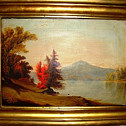 SALE Hudson River Valley School oil on canvas.  Painting and frame circa 1850's-1860's.  View
