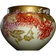 "SALE Jardiniere Delinieres Limoges 36"" C. ~ Hand Painted Chrysanthemums ~  D&C France"