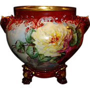SALE Magnificent Jardiniere ~ Limoges Porcelain ~ Elephant head handles~Hand Painted with Red,