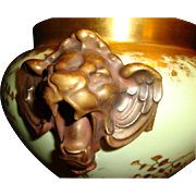 SALE Porcelain Jardinière ~Majestic and Rare Limoges ~ Lion Head handles ~ Gold Embossed Leaf