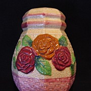 SALE Gorgeous Majolica Sugar Shaker Decorated with Red & Caramel Roses