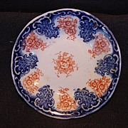 SALE Nice Old English Butter Pat ~ Decorated with Cobalt FLow Blue and Orange Flowers ...