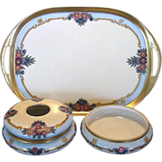 SALE Three Piece Limoges Porcelain Dresser Set ~ Hand Painted with Purple, Blue & Pink Flowers