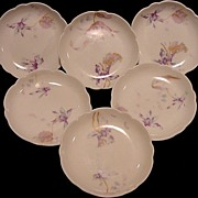 SALE Six (6) RARE  Limoges Porcelain BUTTER PATS ~ Decorated with Blue and Purple Iris ...