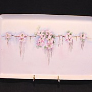 SALE Awesome Limoges Porcelain Tray ~ Hand Painted with White & Pink Roses ~ T & V ...