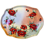 SALE Unbelievable Large 16 1/2'' Limoges Porcelain Tray ~ Hand Painted with Orange Poppies ...