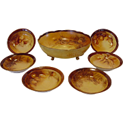 SALE Handsome Austrian / Limoges Porcelain Master Nut Bowl Set with Six (6) Individual Dishes