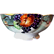 SALE Magnificent Limoges Porcelain Punch Bowl ~ Hand Painted with Grape Motif ~ Delinieres & C