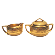 SALE Gorgeous Stouffer Studio Decorated Creamer & Sugar in the All Over Gold ( AOG ) Water Lil
