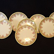 SALE 8 Wonderful Limoges Porcelain Butter Pats ~ Factory Decorated with Pink Flowers ~ ...