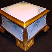 SALE Outstanding Limoges Porcelain Dresser Box ~ Hand Painted with Forget-Me-Nots ~ Coiffe ...