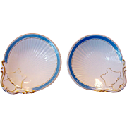 SALE 2 Matching Individual Limoges Porcelain Oyster Dishes (Shooters) ~ Azure Blue Decoration