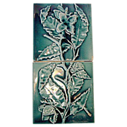 SALE Extraordinary 2 PIECE of Majolica Sequential Victorian Panel Tiles with Branches, Flowers