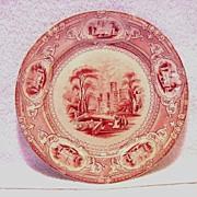 SALE Wonderful Old English Ironstone Cabinet Plate ~ Corinthia Pattern ~ Pink / Red Transfer ~