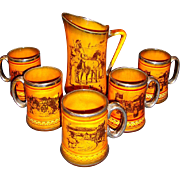 SALE Amazing English Tankard and Five Steins / Mugs ~ Scenes from Coaching Days and Coaching .