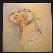 SALE Hand Painted Tile with Beautiful Victorian Woman and Pink Roses ~ Artist Signed ~ Cambrid