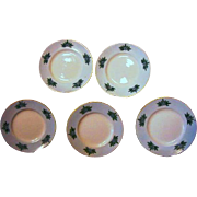 SALE Six Limoges Porcelain Butter Pats – Hand Painted with Blue Flowers on a Blue ...