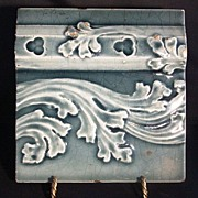 SALE Nice Majolica Boarder Tile with Leaf & Scroll Design ~ Trent Tile Co 1892 +
