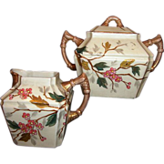 SALE Beautiful German Porcelain Creamer & Sugar Set ~ Asian Oriental Design with Pink Cherry .