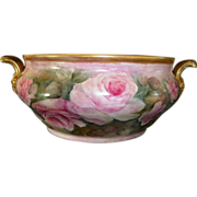 SALE Fantastic German Porcelain 14'' Tableside Champagne Chiller ~ Hand Painted with Pink Rose