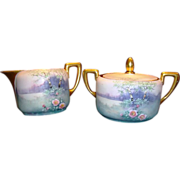 SALE Beautiful Pickard Decorated Porcelain Cream & Sugar Set with Lid ~ Hand Painted with Vell