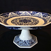 SALE Awesome Mintons 8 Sided 132 Yr Old English Compote / Pedestal Dish ~ Blue and ...