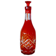 SALE Beautiful Red to Amber Cut to Clear Decanter / Bottle with Stopper