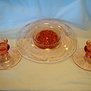 SALE Pink Depression Glass ~  ~ Etched Rim Flower Console Bowl with Frog and Matching Candle S