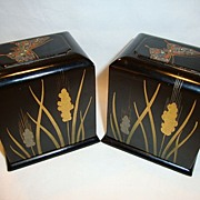 SALE (2) Very Nice and unique Black Lacquer Boxes ~ Hand painted with Wheat and Inlaid Butterf
