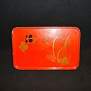 SALE Red Lacquer Tray with and Painted Gold & Black Flowers