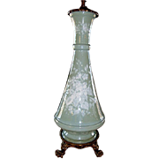 SALE Exquisite Pate-Sur-Pate Double Pull Table Lamp ~ Celadon Green~ Ormolu Claw Footed ...
