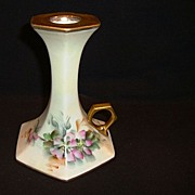 SALE Fantastic Limoges Porcelain Candle Stick / Chamber Stick Holder ~ Hand Painted with Wild