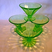 SALE Set of 4 ~ Federal Glass Green Depression Sherbet Dish 1930's