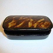 SALE Small Hinged Lacquer Snuff Box ~ Black with Tortoise Shell Design