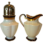 SALE Elegant English China Sugar & Shaker with Silver Top~ White, Cobalt and Gold ~ George Jon
