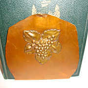 SALE Wonderful Old Hand Wrought Copper Bookends with Grape Designs ~ Drumgold Copper Arts Cali