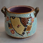 SALE Wonderful English Majolica Open Sugar Bowl ~ Turquoise with Fan, Crane, Scroll & Insect ~