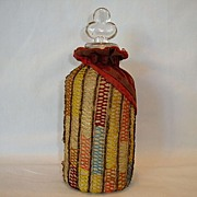 SALE Fantastic Velvet and Crochet Covered Glass Perfume Bottle