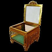 SALE Wonderful Square Glass Jewelry Casket / Box with Beveled Glass ~ Ornate Ormolu Frame ~ 19