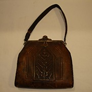 SALE Beautiful Hand-Tooled Floral Art Nouveau Leather  Purse ~ Art & Crafts 1921