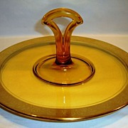 SALE Wonderful Handled Sandwich Tray / Plate ~ Amber Glass with gold Encrusted Rambler Roses D